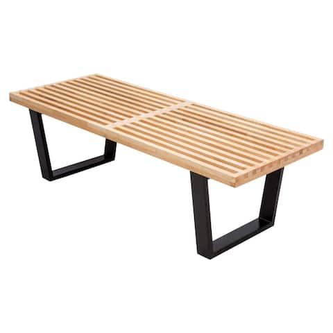 LeisureMod Modern Inwood Platform 4 foot Slat Bench