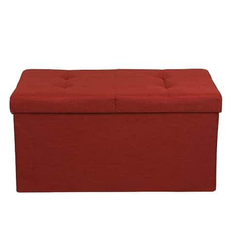Storage Ottoman Bench 30 Inch Smart Lift Top Ruby Red By Crown Comfort