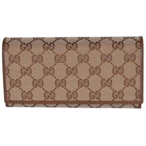 59d9f95a5543 Gucci Women's 346058 Beige Brown Canvas Leather Continental Bifold Wallet