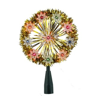 "7"" Gold Tinsel Snowflake Starburst Christmas Tree Topper - Multi Lights - N/A"