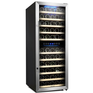 Kalamera Wine Cooler 73 Bottle Dual Zone Wine Refrigerator with Digital Temperature Display