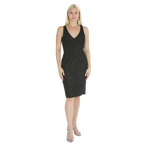 Marina Women's V-Neck Sleeveless Flower Shimmer Texture Dress, Black, 12