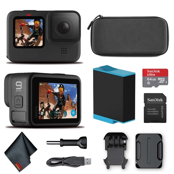 GoPro HERO9 Black - Waterproof Action Camera 64GB Card and Cleaning. Opens flyout.