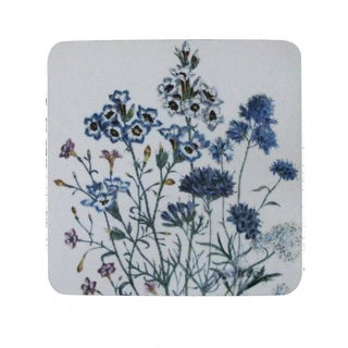 Pack of 8 Antique Style Botanical Blue Floral Print Cocktail Drink Coasters 4""