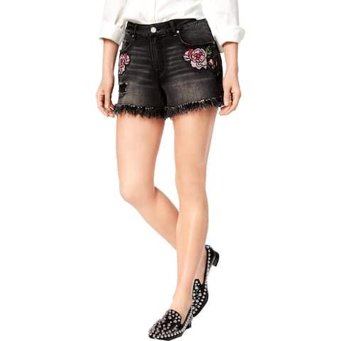 William Rast Womens Juniors Perfect Denim Shorts Embroidered Frayed Hem