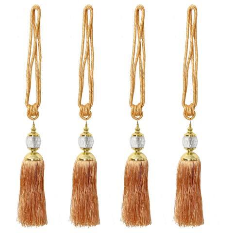 4pcs Curtain Tiebacks 24 Inch Holdback Decorative Rope Tassel Holder, Brown