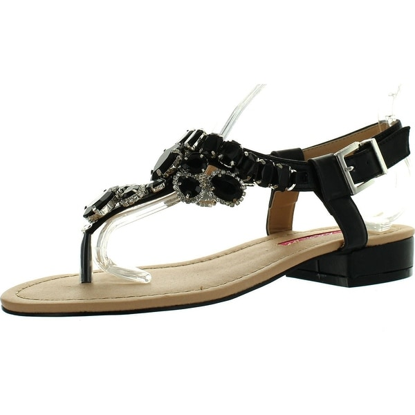 C Label Cabana-11 Womens Rhinestone T-Strap Slingback Flat Summer Sandals - Black
