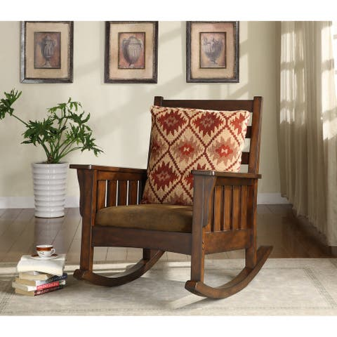 Furniture of America Tyer Traditional Oak Fabric Rocking Accent Chair
