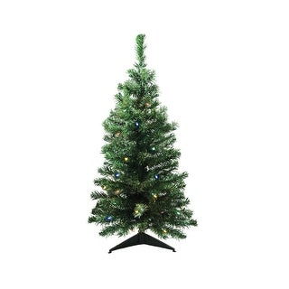 "3' x 18"" Pre-Lit Mixed Classic Pine Medium Artificial Christmas Tree - Multi LED Lights"