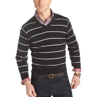 Izod Fine Gauge Striped V-Neck Sweater Deep Black Cotton Small - S