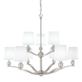 "Norwell Lighting 5619 Roule 9 Light 36"" Wide 2 Tier Chandelier with White Shade"