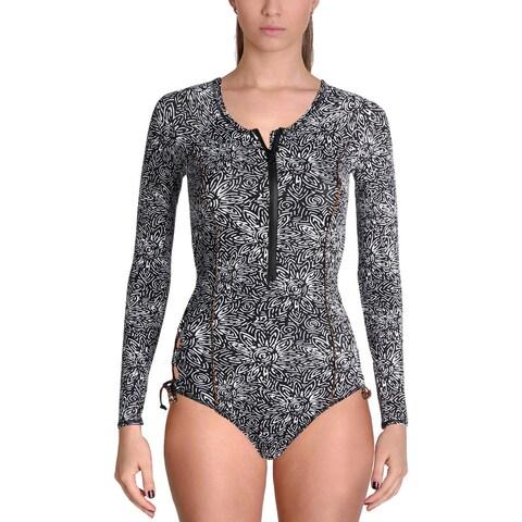 Volcom Womens Henna Spirit Long Sleeves Printed One-Piece Swimsuit - XS