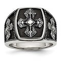 Chisel Stainless Steel Polished and Antiqued Cross Ring - Thumbnail 0