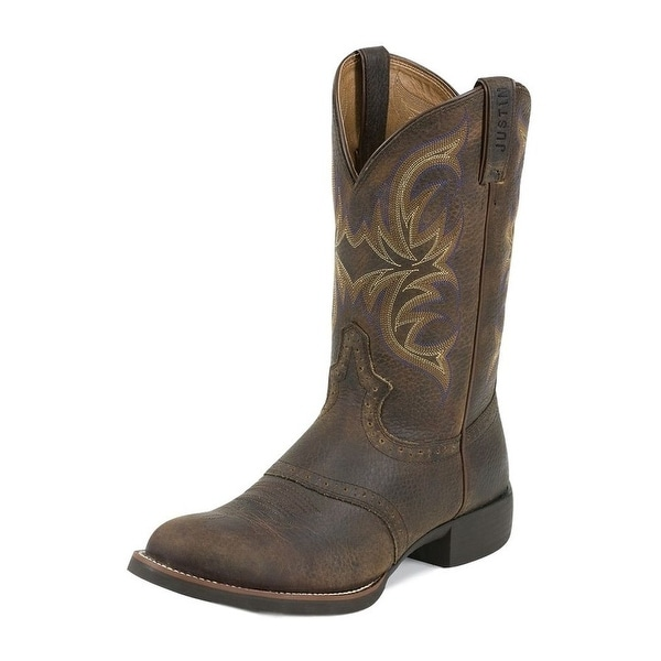 Justin Western Boots Mens Murray Leather Round Toe Dark Brown
