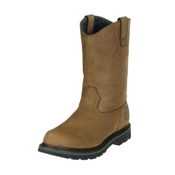 John Deere Work Boots Mens Wellington Digger Crazy Horse Tan