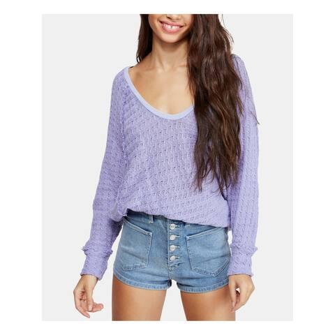 FREE PEOPLE Womens Purple Long Sleeve Hi-Lo Sweater Size XS