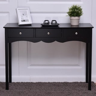 Costway Console Table Hall Table Side Table Desk Accent Table 3 Drawers  Entryway Black