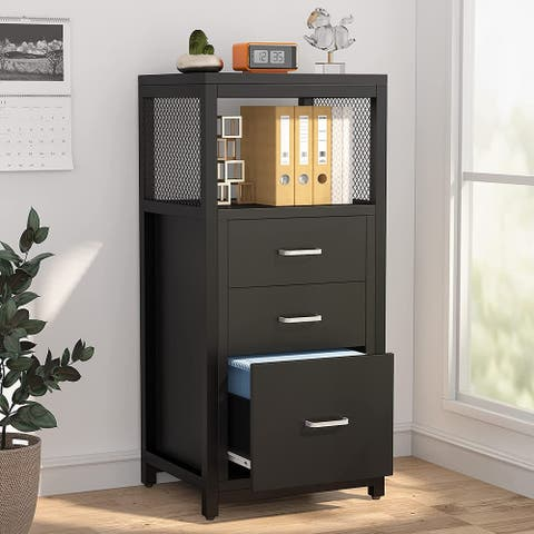 3 Drawer Vertical File Cabinet, Large Filing Cabinet Printer Stand with Storage Shelves