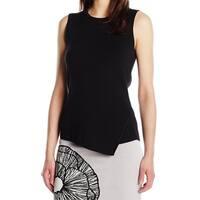 Anne Klein Black Women's Size XL Asymmetric Hem Crewneck Sweater