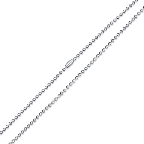 Shot Beaded Ball Chain Link Strong 3mm For Women For Men Necklace Silver Tone Stainless Steel