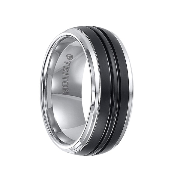 KENWAY Domed Tungsten Carbide Dual Grooved Black Center Beveled Ring by Triton Rings - 9mm