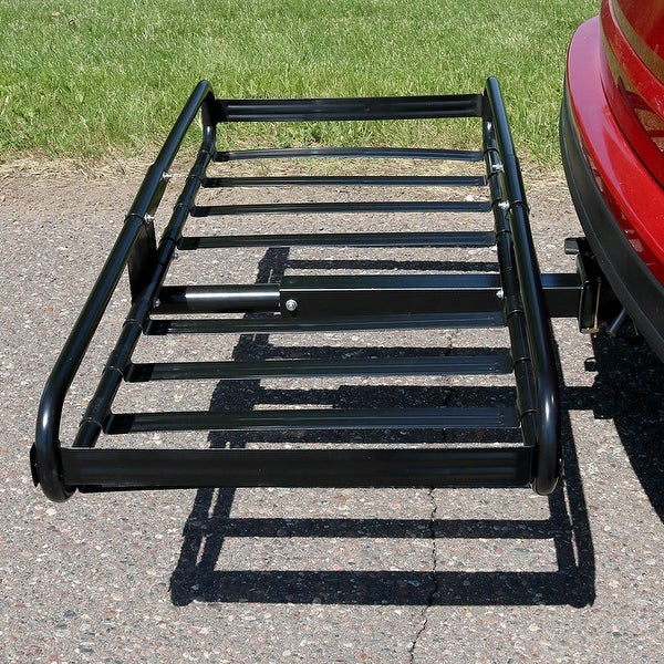 Sunnydaze Basket Hitch Mounted Cargo Rack & 2 Inch Receiver - 500 Pound Capacity