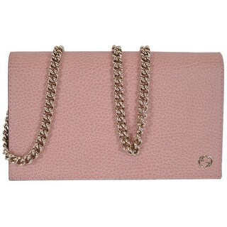 "Gucci 466506 Soft Pink Leather Interlocking GG Crossbody Wallet Bag Purse - 8"" x 4.5"" x 1.5"""
