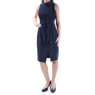 Womens Navy Sleeveless Knee Length Sheath Formal Dress Size: 2XS