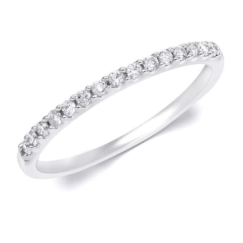 0.15 Carat 2mm Women's Wedding Band Ring Solid Silver Sizes 4-10