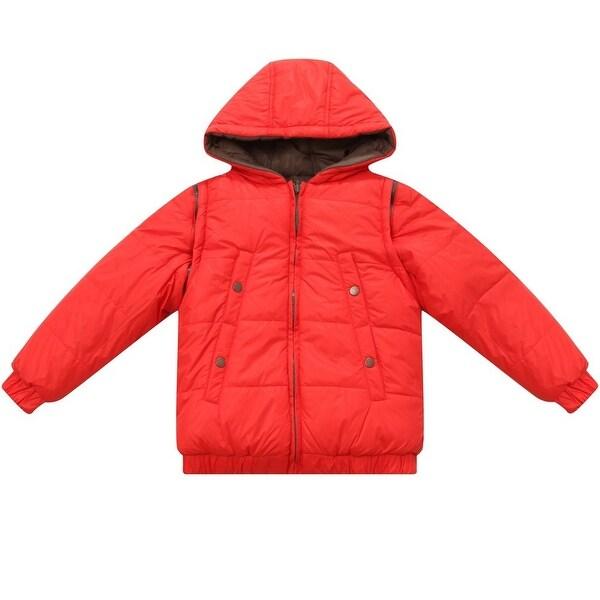 Richie House Baby Boys Orange Hooded Removable Sleeves Padded Jacket 12M