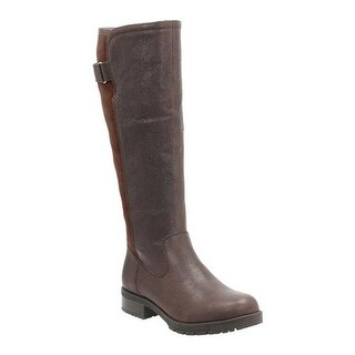 Clarks Women's Faralyn May Waterproof Knee High Boot Dark Brown Goat Full Grain Leather