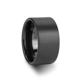 BALTIMORE Flat Style Black Tungsten Carbide Ring with Brushed Finish - 12 mm