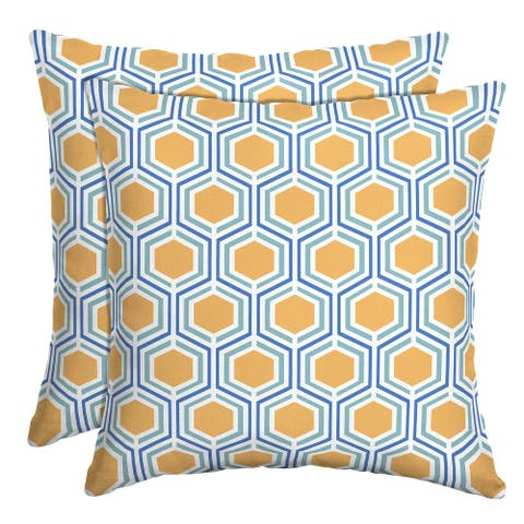 Arden Selections Honeycomb Outdoor Throw Pillow, 2 pack - 16 in L x 16 in W x 5 in H