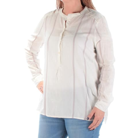 LUCKY BRAND Womens Ivory Sheer Glitter Cuffed Crew Neck Top Size: M