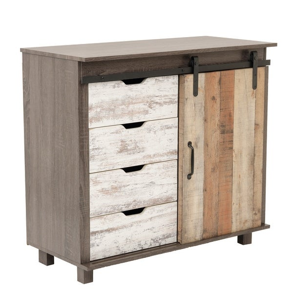 OS Home and Office Model 41001 Orden Four Drawer Cabinet with Sliding Barn Style Door - 52 x 63. Opens flyout.