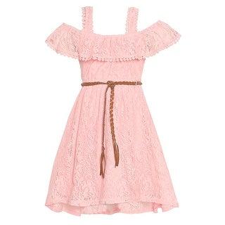 Girls Blush Lace Braided Belt Off-Shoulder Strap Easter Dress