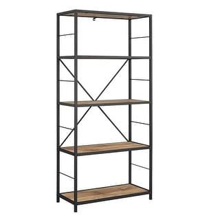 "Delacora WE-BDS60RMW  30"" Wide Five Shelf Laminate, Wood and Metal Utility Shelf"