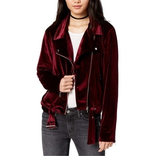 Link to MinkPink Womens Velvet Motorcycle Jacket, red, Small Similar Items in Women's Outerwear