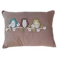 Vivai Home Taupe Floral Bird Hoot Hoot Rectangle 12x 16 Feather Cotton Pillow - TAN
