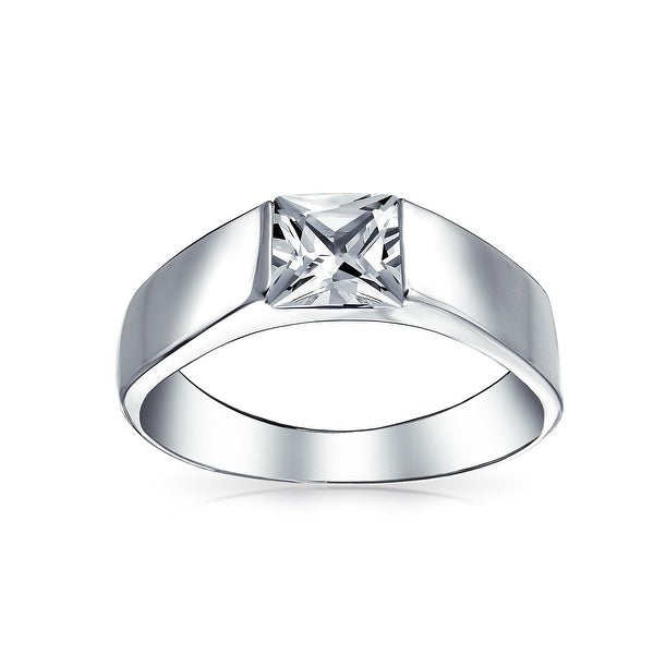 Mens Princess Cut Wedding Band Sterling Silver Size 7 to 13
