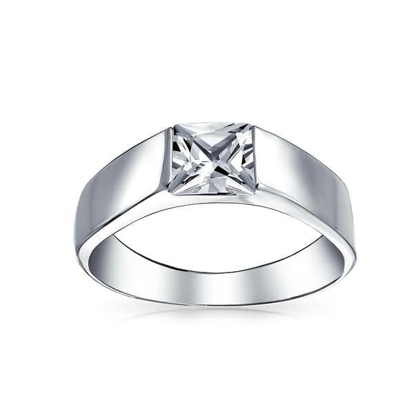 Shop Mens Simple Princess Cut Square Aaa Cz Cubic Zirconia Wedding