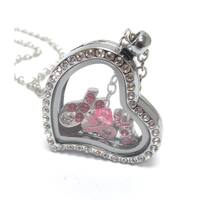 Heart Charm Locket for Breast Cancer - Pink