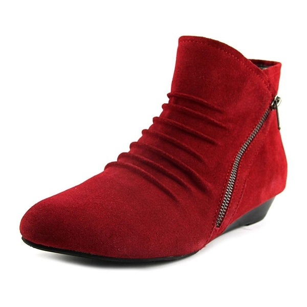 Array Cheyenne Women W Round Toe Suede Red Ankle Boot