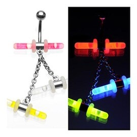 Glowstick holder Navel Ring w/ 3 Glowstick Dangle (Glow Stick & O-Rings Sold Separately) (Sold Ind.)