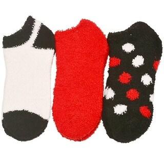 Alexa Rose Big Girls Black White Red Solid Polka Dot 3 Pair Pack Socks 9-11