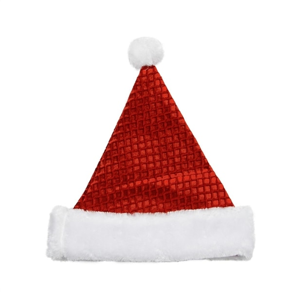 "14"" Red and White Waffle Weave Christmas Santa Hat - Medium"