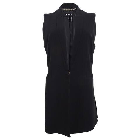 DKNY Women's Collarless Vest (8, Black) - Black - 8