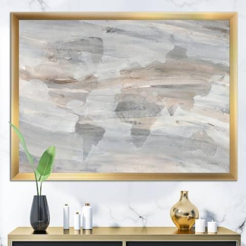Designart 'Misty World Map' Glam Map Framed Art Print