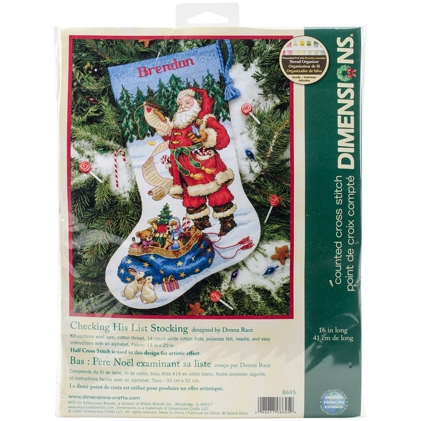 Checking His List Stocking Counted Cross Stitch Kit