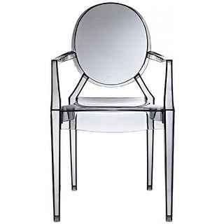 2xhome Modern Style Smoke Color Clear Ghost Armchair Made From Polycarbonate